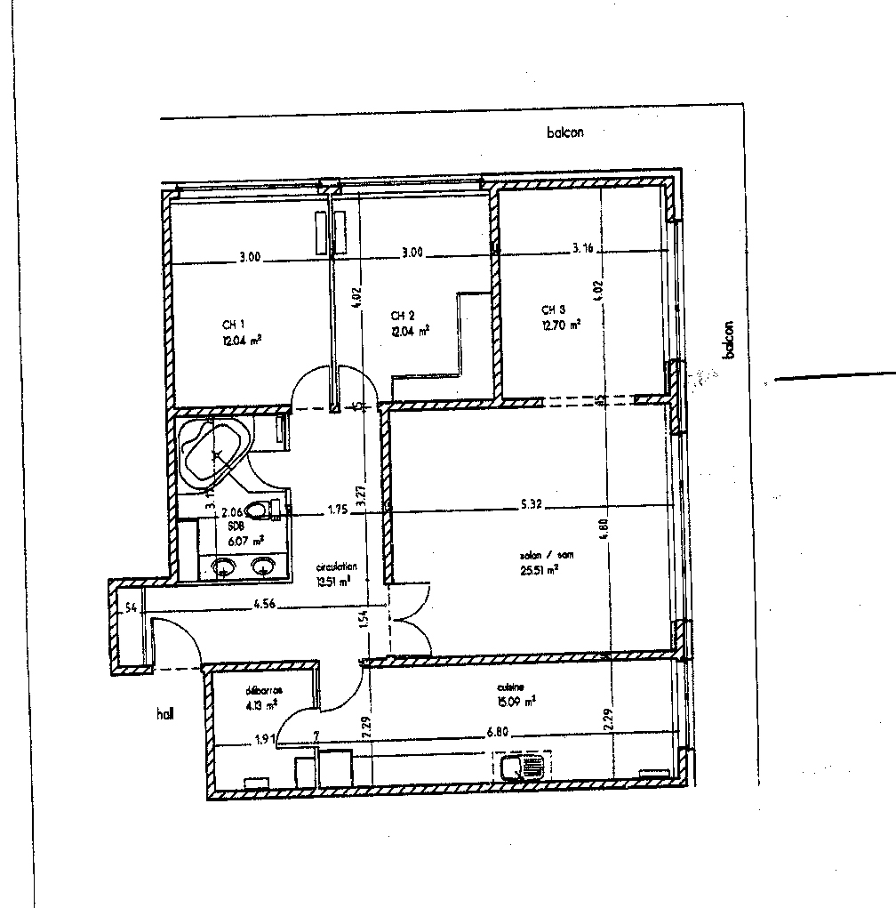 plan d'un appartement f4